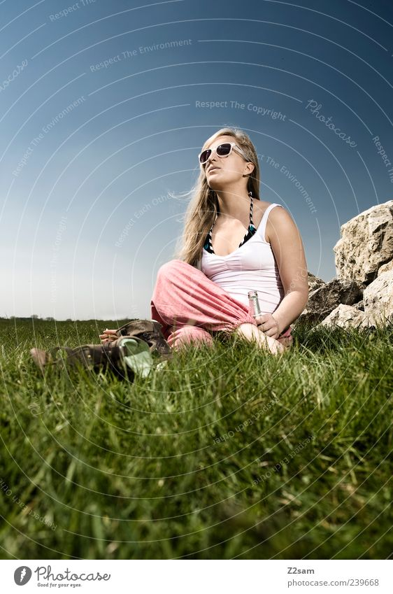 Human being Nature Youth (Young adults) Summer Vacation & Travel Calm Relaxation Meadow Feminine Style Grass Dream Think Landscape Contentment Blonde