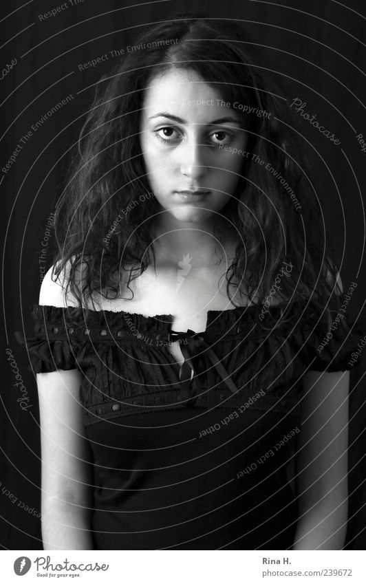 Life is hard sometimes Human being Feminine Young woman Youth (Young adults) 1 18 - 30 years Adults Blouse Black-haired Brunette Curl Looking Authentic Gloomy