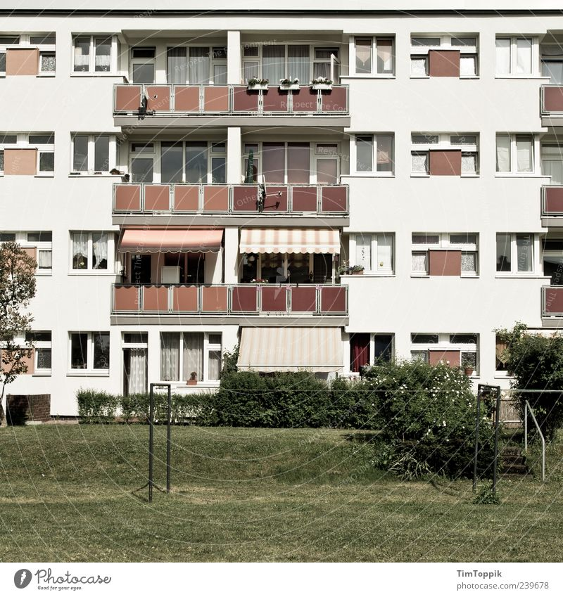 House (Residential Structure) Window Garden Flat (apartment) Facade Living or residing Gloomy Balcony Prefab construction Apartment Building Neighbor Housefront