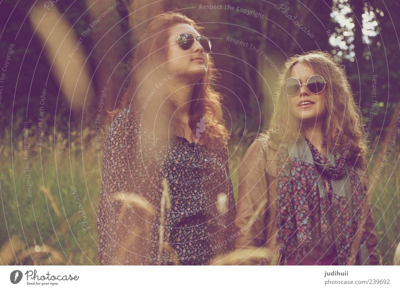 Call us Hippie Lifestyle Style Human being Feminine Young woman Youth (Young adults) Woman Adults 2 18 - 30 years Culture Youth culture Nature Grass Fern Meadow