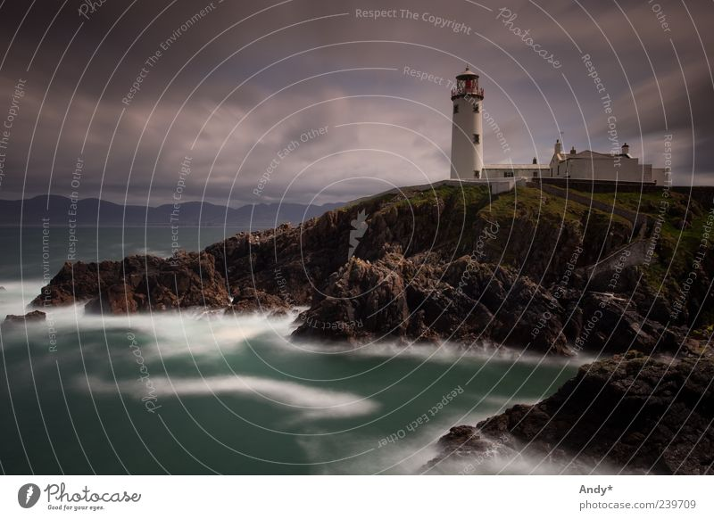 Fanad Head lighthouse Vacation & Travel Tourism Far-off places Ocean Island Landscape Sky Clouds Rock Coast Fanad head Ireland Donegal Europe Lighthouse