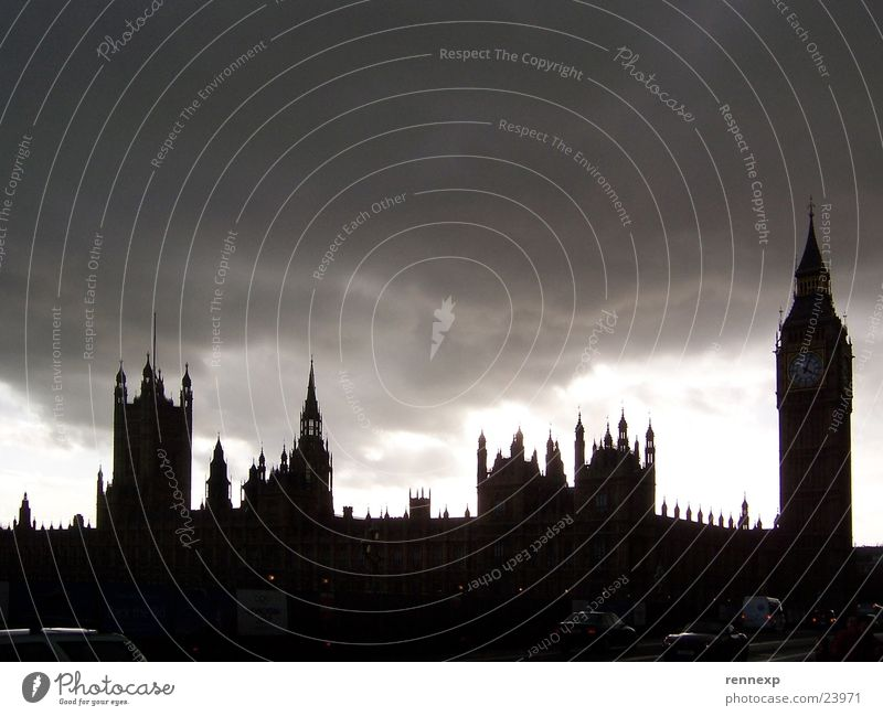 Sky Clouds Dark Lighting Large Creepy Monument London Landmark England Capital city Great Britain Government Houses of Parliament Big Ben