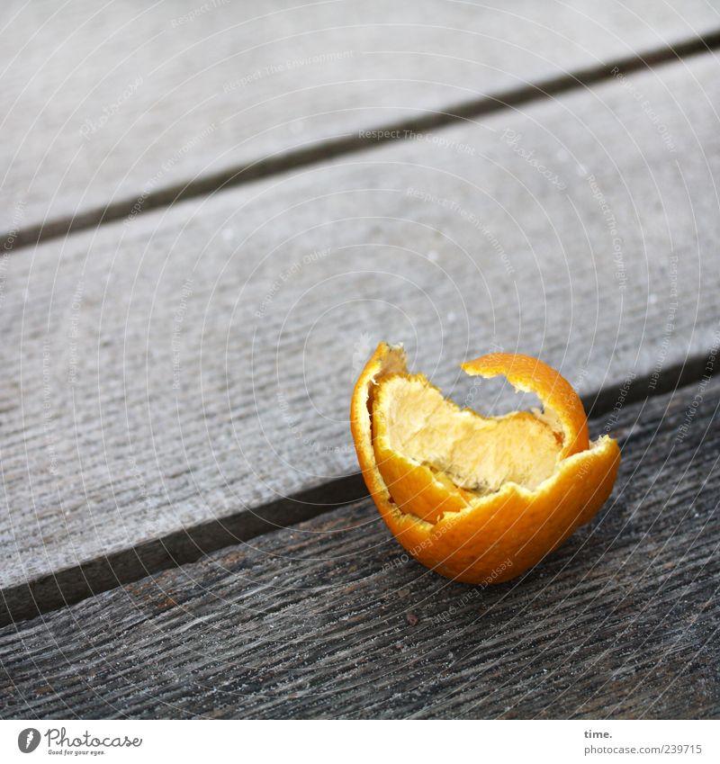 Plundered Orange Wooden board Footbridge Diagonal Fruit Remainder Sheath Trash Seam Furrow Gray Tropical fruits Orange peel Deserted Copy Space top Leave behind