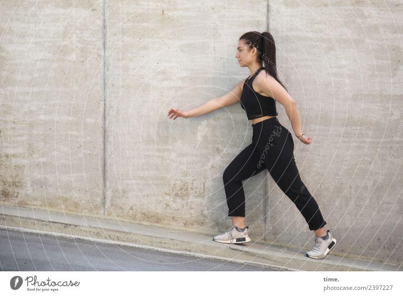 Nikoliya Feminine Woman Adults 1 Human being Wall (barrier) Wall (building) T-shirt Pants Sneakers Long-haired Braids Running Going Looking Beautiful
