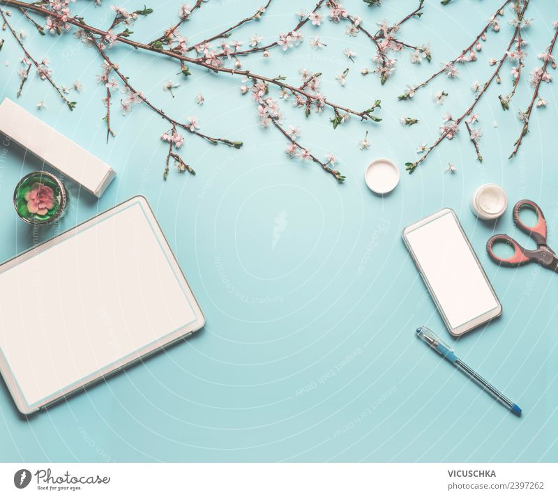 Flower Leaf Background picture Spring Blossom Feminine Style Business Work and employment Design Office Decoration Technology Telecommunications Computer