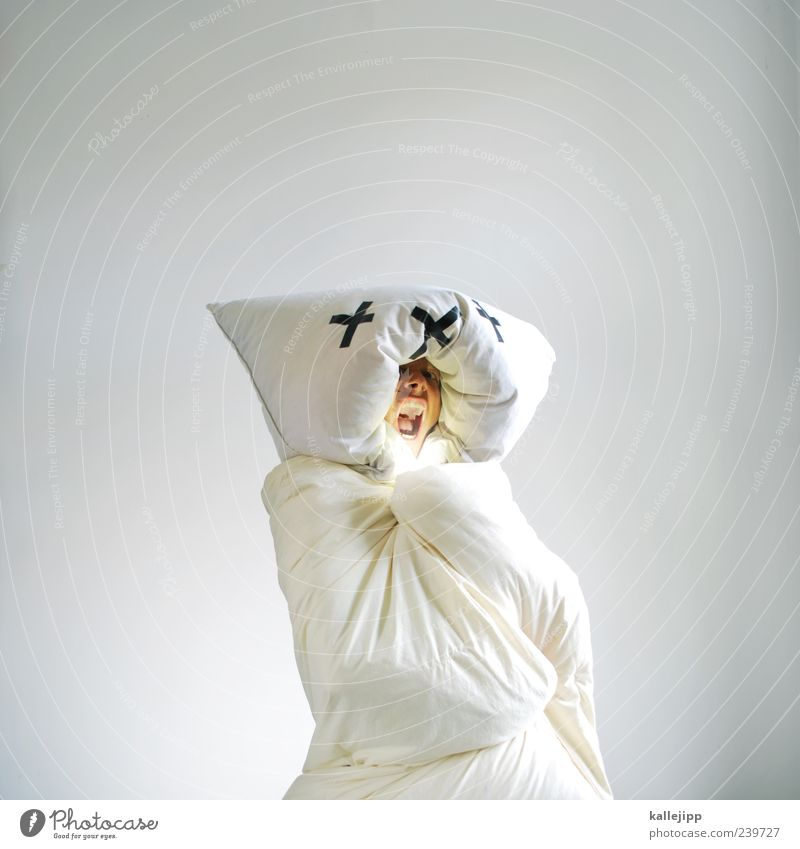 Human being Man White Adults Face Warmth Exceptional Masculine Crazy Stand Threat Soft Bedclothes Scream Whimsical Comic
