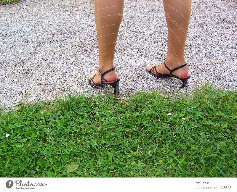 Human being Woman Beautiful Meadow Grass Lanes & trails Sand Garden Legs Feet Park Footwear Transparent Tights Gravel High heels