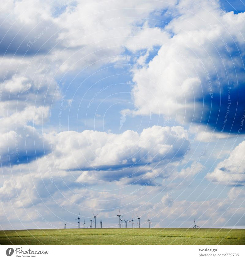 Sky Nature Blue Green Summer Clouds Environment Landscape Meadow Climate Energy industry Energy Hill Wind energy plant Rotate Environmental protection