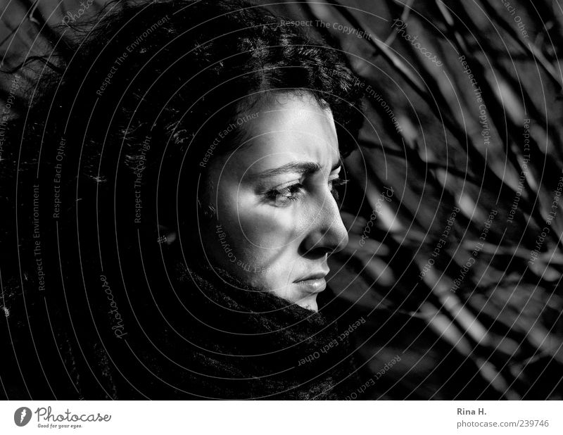 Light and shadow Young woman Youth (Young adults) 1 Human being 18 - 30 years Adults Dream Authentic Dark Emotions Meditative Black & white photo Exterior shot