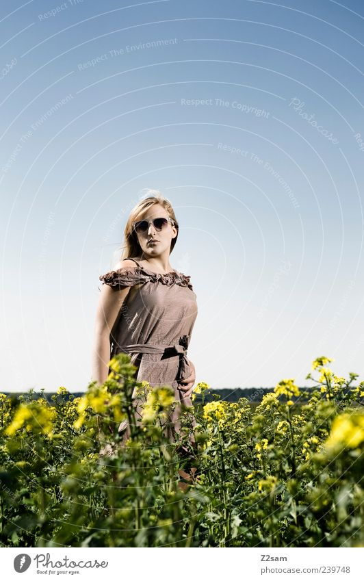 Human being Nature Youth (Young adults) Beautiful Summer Flower Adults Environment Landscape Feminine Fashion Brown Young woman Blonde Field Natural