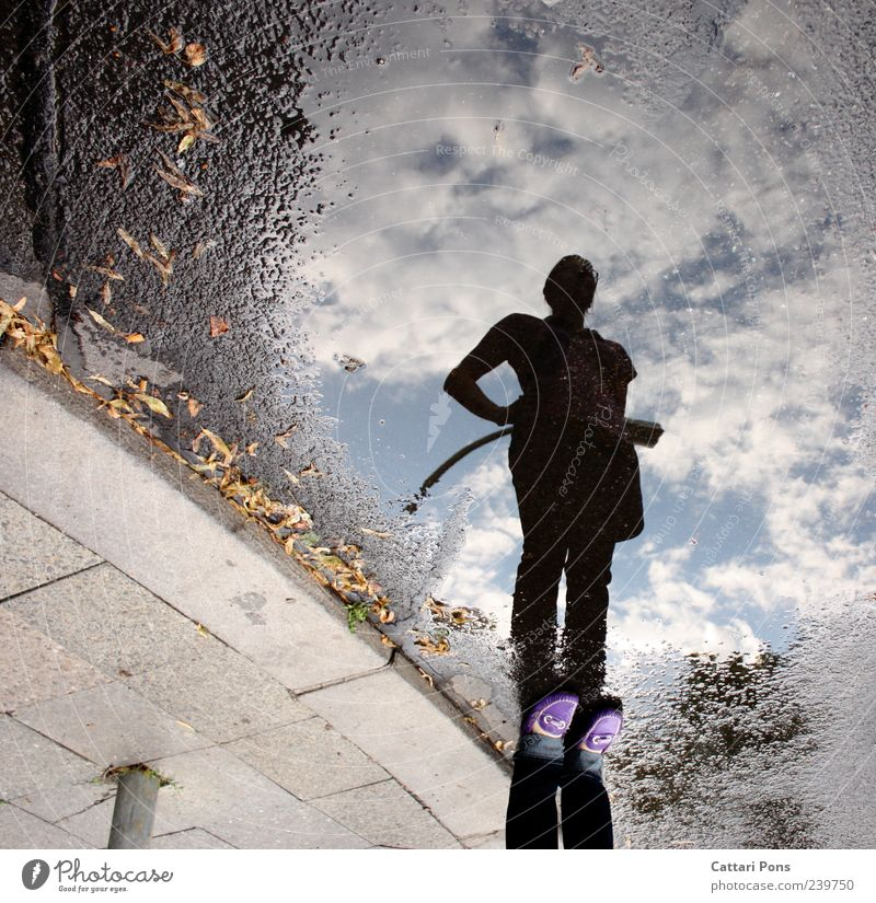 stay Young woman Youth (Young adults) Woman Adults Water Sky Clouds Observe To enjoy Stand Rebellious Thin Uniqueness Discover Resolve Street Puddle Reflection