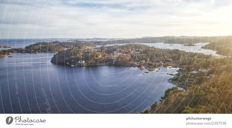 Norwegian bay at sunset Leisure and hobbies Vacation & Travel Tourism Trip Far-off places Freedom Flat (apartment) Dream house Environment Nature Landscape Air