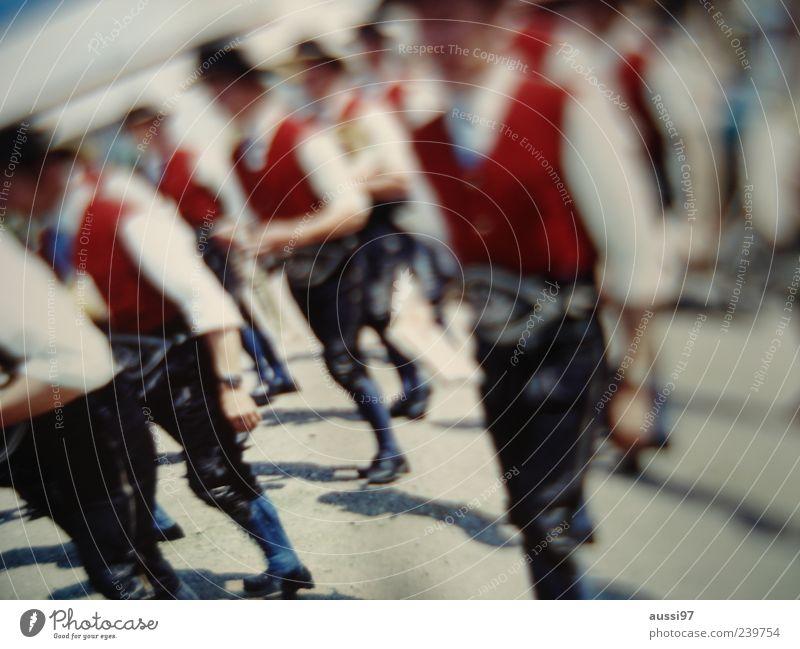 Bavarian Funk Fairs & Carnivals Leather shorts Lederhosen Costume Blur positive liquid Man Parade Tradition Many Vest Red Going