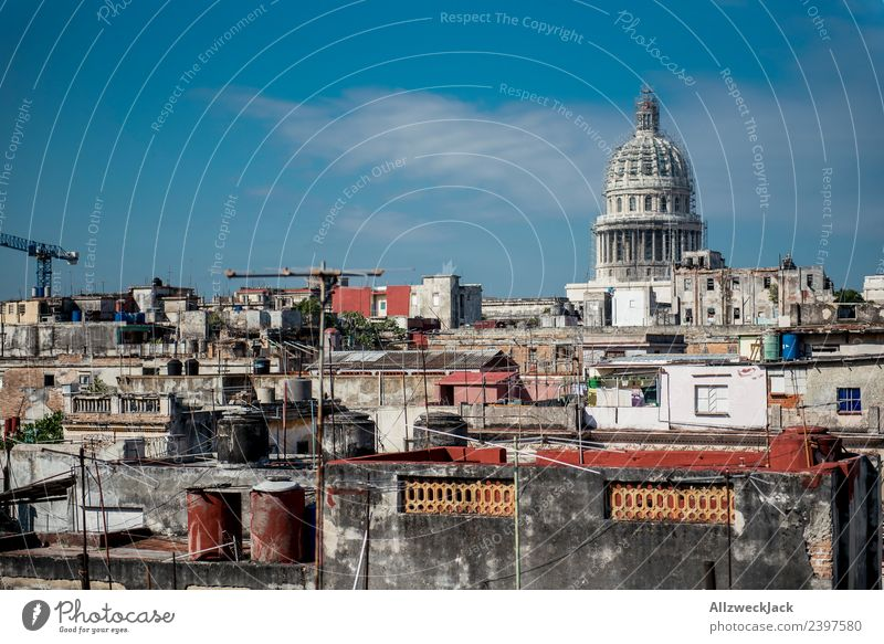 View over Havana Vieja to Capitol Cuba United States Capitol Skyline Vantage point Apartment Building Tower block Tumbledown Construction site Blue sky