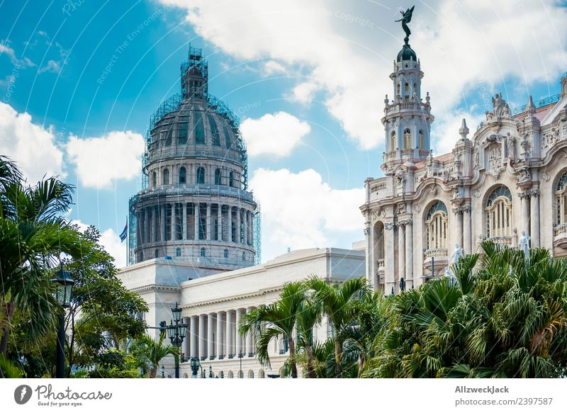 Havana Capitol Cuba United States Capitol Blue sky Clouds Summer Vacation & Travel Travel photography Wanderlust City Charming Deserted Tourist Attraction