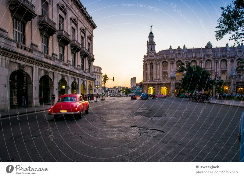 Oldtimer with sunset in Havana Cuba Night Lighting Night shot Vintage car Park Places Long exposure House (Residential Structure) Sunset Dusk Romance