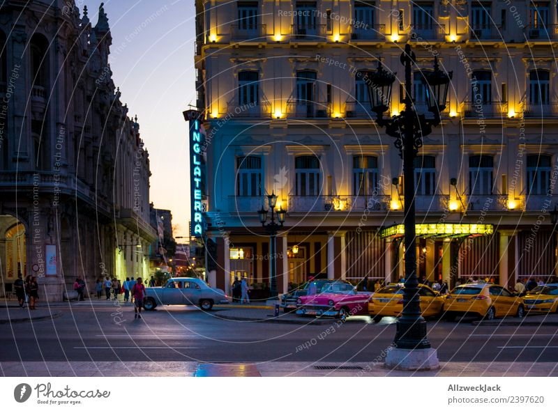 In the evening at sunset in Havana Cuba Night Lighting Night shot Vintage car Park Places Long exposure House (Residential Structure) Taxi Sunset Dusk Romance