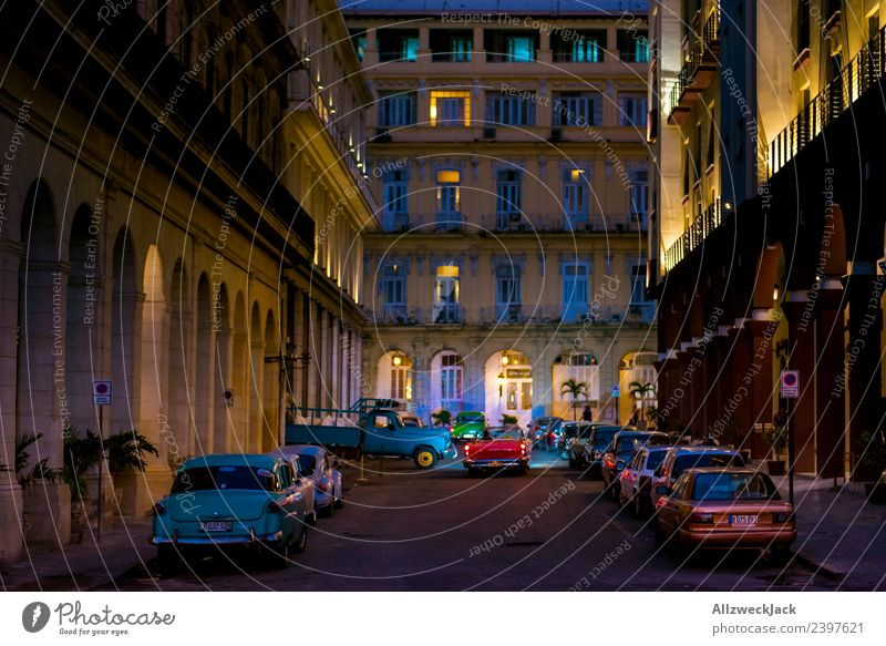 At night in a street in Havana Cuba Night Lighting Night shot Vintage car No through road Long exposure House (Residential Structure) Blue sky Cloudless sky