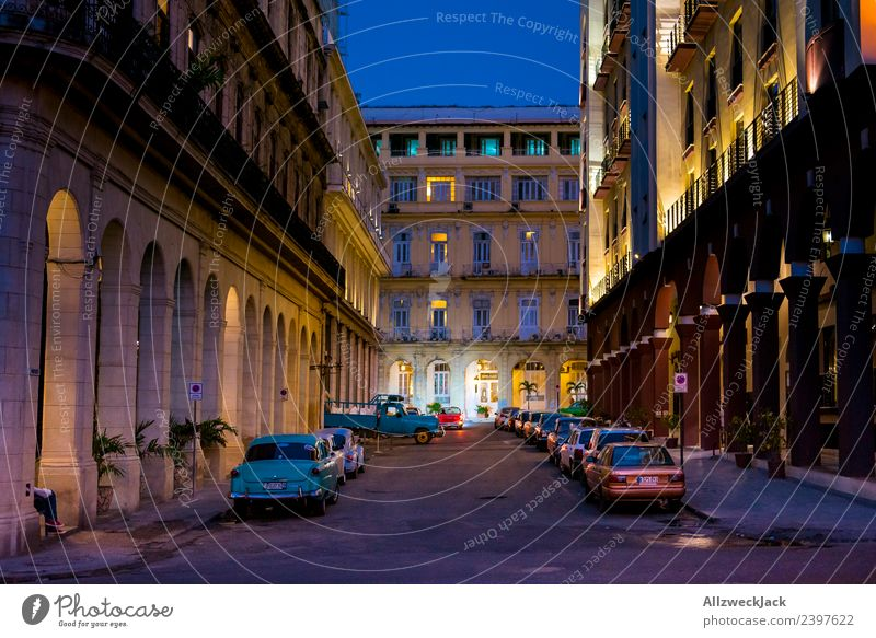 Parking search at night in Havana Cuba Night Lighting Night shot Vintage car No through road Long exposure House (Residential Structure) Blue sky Cloudless sky