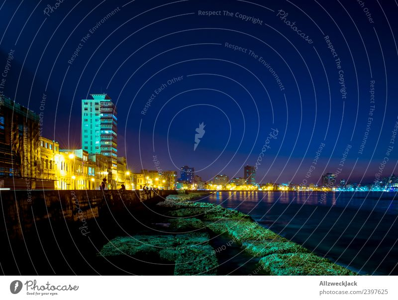 Malekon in Havana at night Island Cuba El Malecón Coast Promenade Skyline Street Night shot Lighting Illuminate Illumination Blue sky Cloudless sky Silhouette