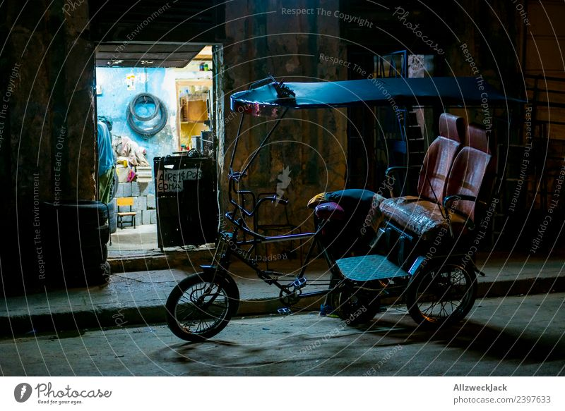 parking bicycle taxi at night on the streets of Havana Cuba Night shot Long exposure House (Residential Structure) Dark Illuminate Light Lighting