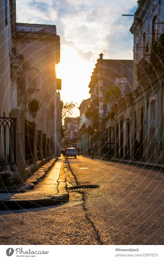 Sunset in the streets of Havana Cuba Island Socialism Vacation & Travel Travel photography Trip Sightseeing Shadow Town Blue sky Clouds Wanderlust