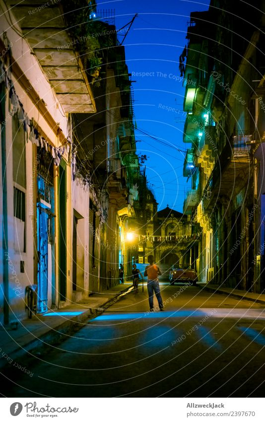 a dark road at night in Havana Cuba Night shot Long exposure House (Residential Structure) Architecture Dark lit Light Illuminated vacation Travel photography