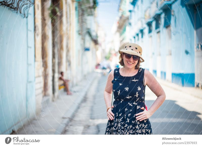 Portrait of woman with blue dress, sunglasses and hat Cuba Havana Island Vacation & Travel Travel photography Trip Sightseeing Alley Street Town Blue sky