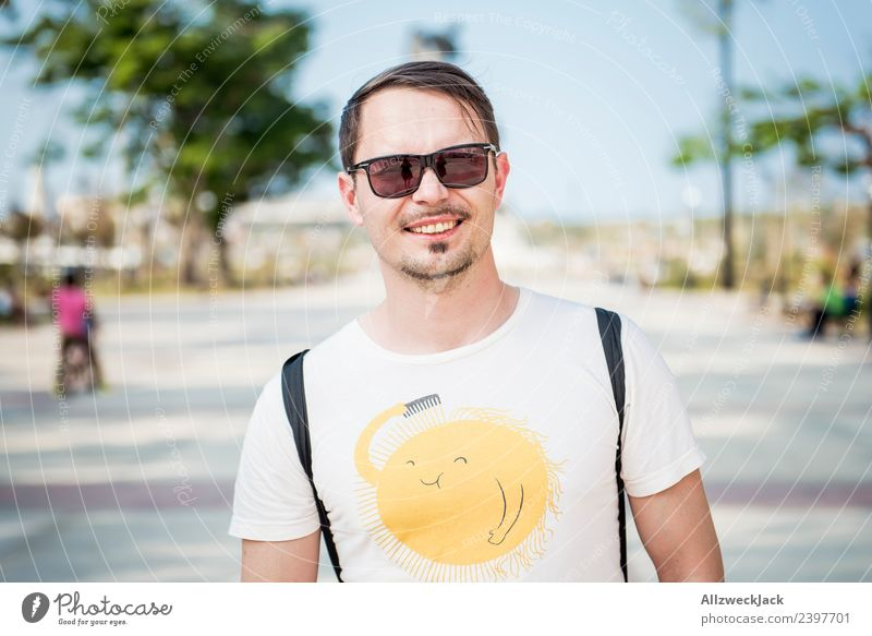 Portrait of a young man with sunglasses Cuba Havana Island Vacation & Travel Travel photography Trip Sightseeing Street Town Blue sky Wanderlust Day Sun Summer