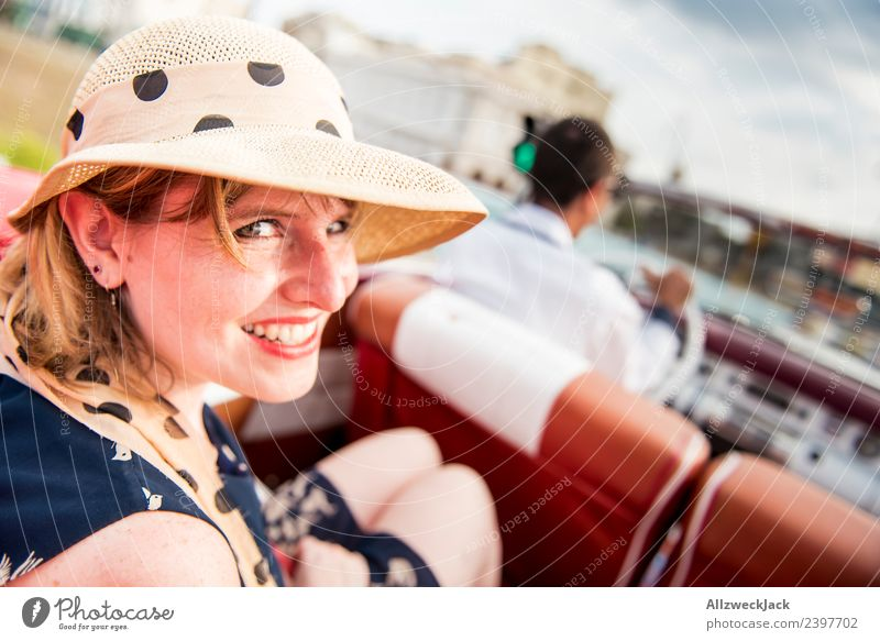 Woman with blue dress and hat in classic car Cuba Havana Island Vacation & Travel Travel photography Trip Sightseeing Driving Highway ramp (exit) Vintage car