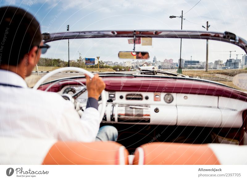 View of the street from the back seat of a vintage car Cuba Havana Island Vacation & Travel Travel photography Trip Sightseeing Driving Highway ramp (exit)