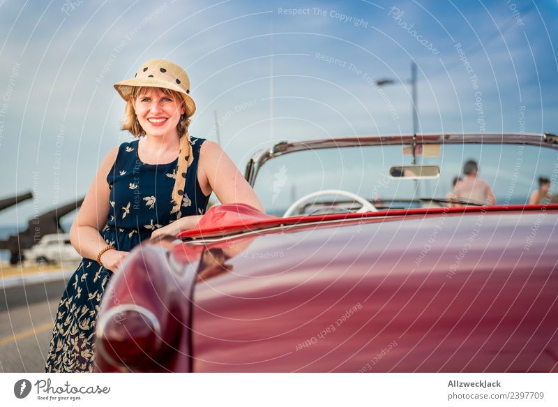 Portrait of a woman with dress, sunglasses and hat on a vintage car Cuba Havana Island Vacation & Travel Travel photography Trip Sightseeing Vintage car