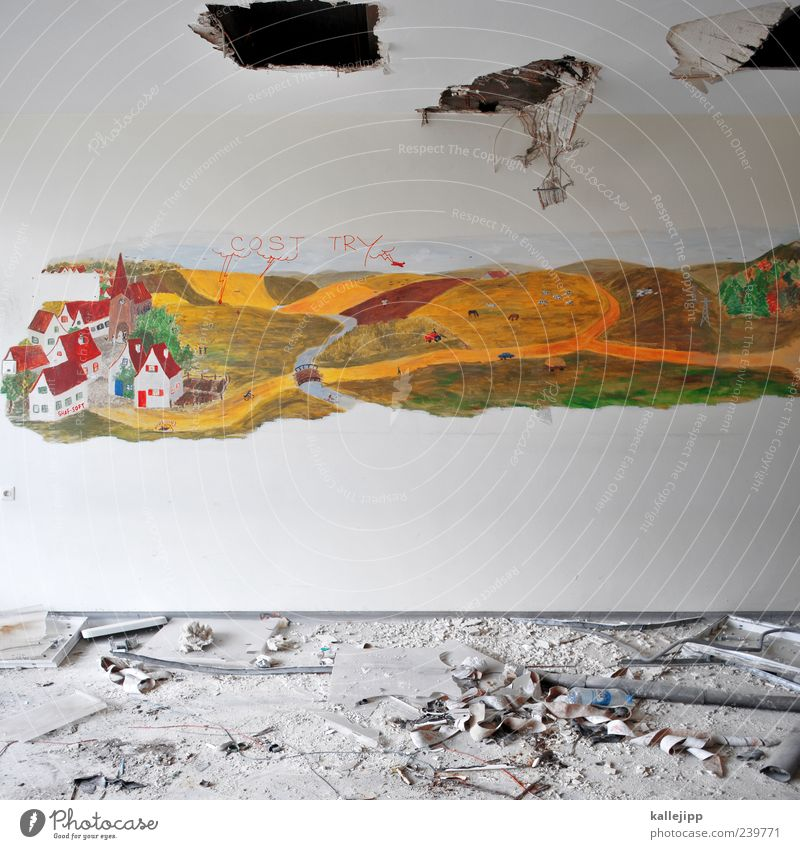 In heaven Art Nature Landscape Clouds Field Village House (Residential Structure) Church Wall (barrier) Wall (building) Broken Painting and drawing (object)