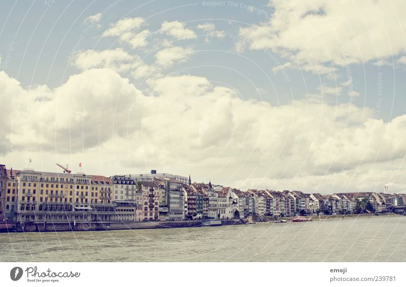 Basel Sky Clouds River bank Town Capital city Outskirts House (Residential Structure) Old Bright Rhine Border Boundary Colour photo Exterior shot Deserted