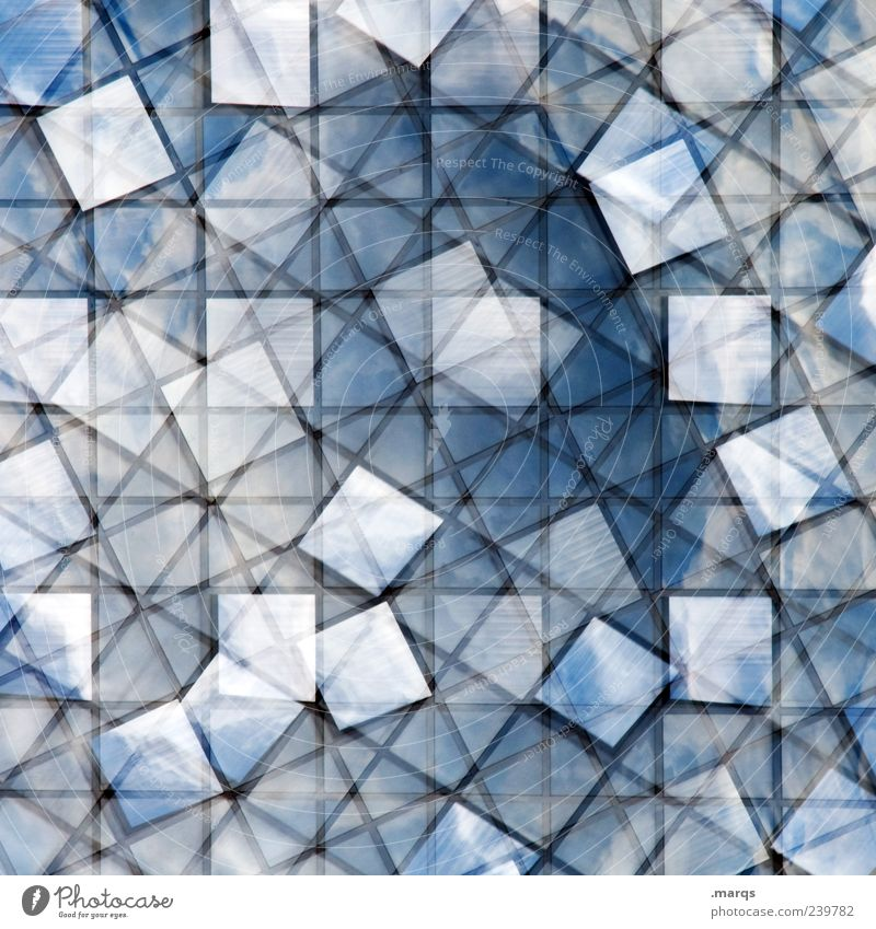cloudy Style Window Glass Line Exceptional Uniqueness Crazy Blue Bizarre Chaos Arrangement Perspective Whimsical Tile Mosaic Double exposure Colour photo