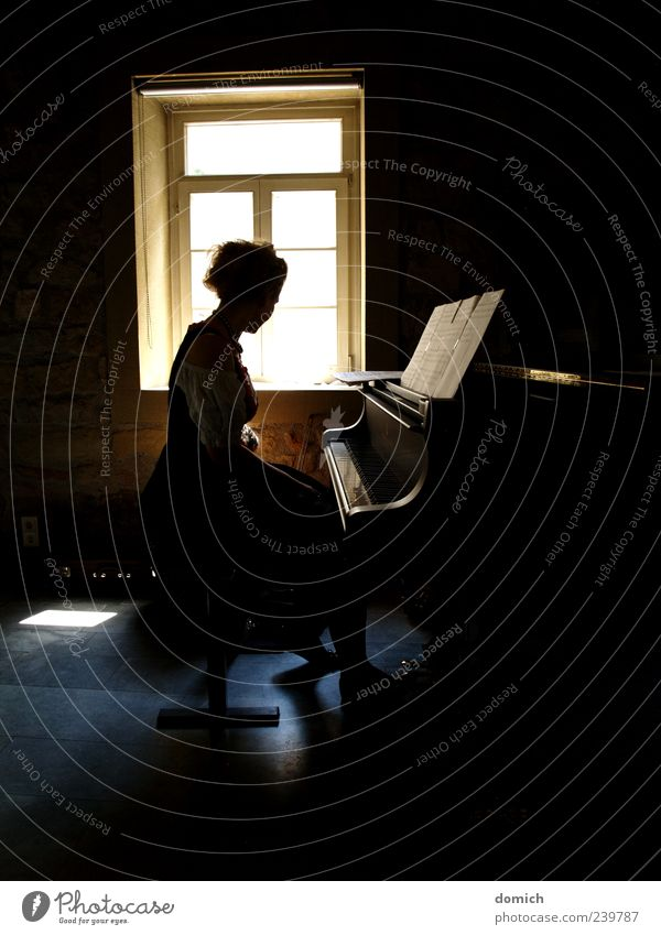 Piano in the shade Feminine Young woman Youth (Young adults) 1 Human being Culture Concert Musician Listen to music Esthetic Blonde Emotions Subdued colour