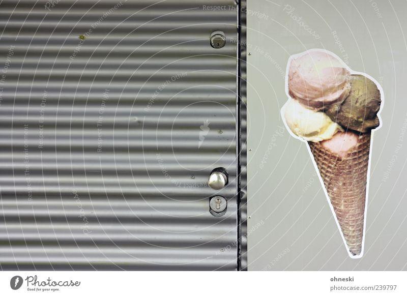 Nutrition Gray Door Closed Ice cream Lock Label Waffle Ice-cream vender