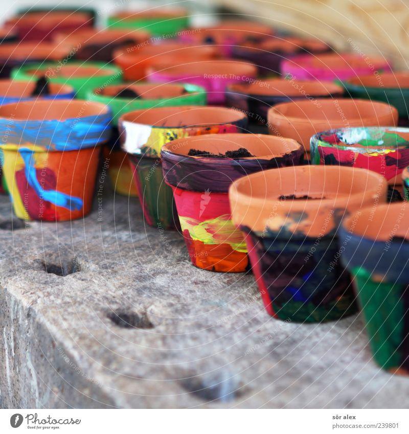 Fostering creativity Education Kindergarten teacher Flowerpot Clay Clay pot Workbench Potting soil Multicoloured Yellow Red Black Creativity Sow Fashioned