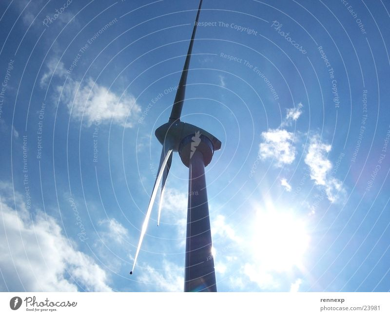 Sun Blue Summer Clouds Power Elegant Large Force Perspective Industry Energy industry Electricity Might Wind energy plant Radiation Ecological