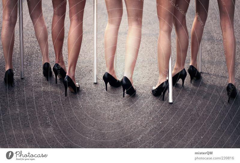 Human being Woman Beautiful Legs Esthetic Many Model Asphalt Fantastic Long Event Footwear High heels Woman's leg Woman's body Manikin