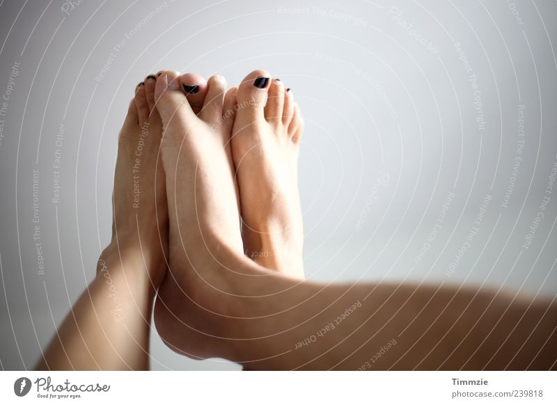 feet Feet Love Together Joy Happy Safety (feeling of) Sympathy Friendship Infatuation Romance Lust Legs Nail polish Couple Copy Space right Sunlight