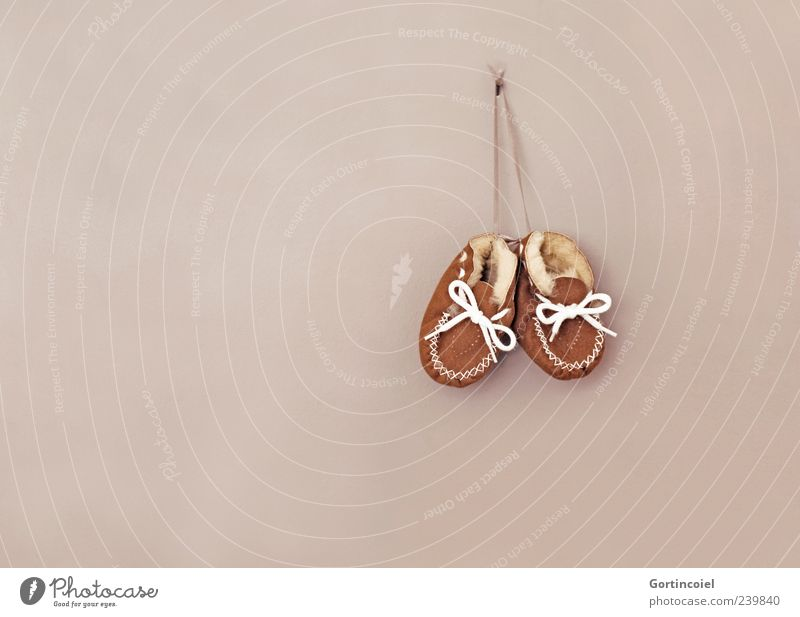 Wall (building) Small Brown Footwear Pelt Leather Birth Suspended Shoelace Childrens shoe Pair of shoes