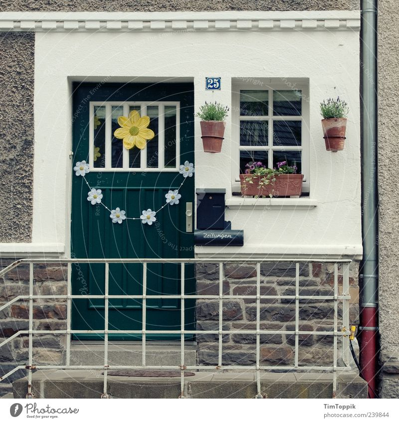 In Wonderland #6 House (Residential Structure) Green Front door Flowerpot Facade Eaves Arrangement Orderliness Petit bourgeois Banister Window Home country