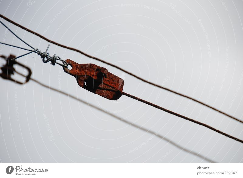 threesome Metal Rust Hang Brown Gray Tighten Retentive Wire Iron Steel 3 Diagonal Patina Weathered Colour photo Exterior shot Detail Day Deserted Wire cable