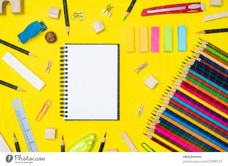 Minimal work space Colorful background with many crayons, Blue Colour White Black Business Art School Fashion Work and employment Above Design Office Modern