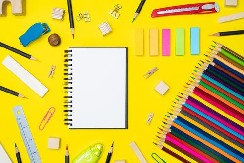 Minimal work space Colorful background with many crayons, Design Desk Table School Classroom Academic studies Work and employment Office Business Art Media