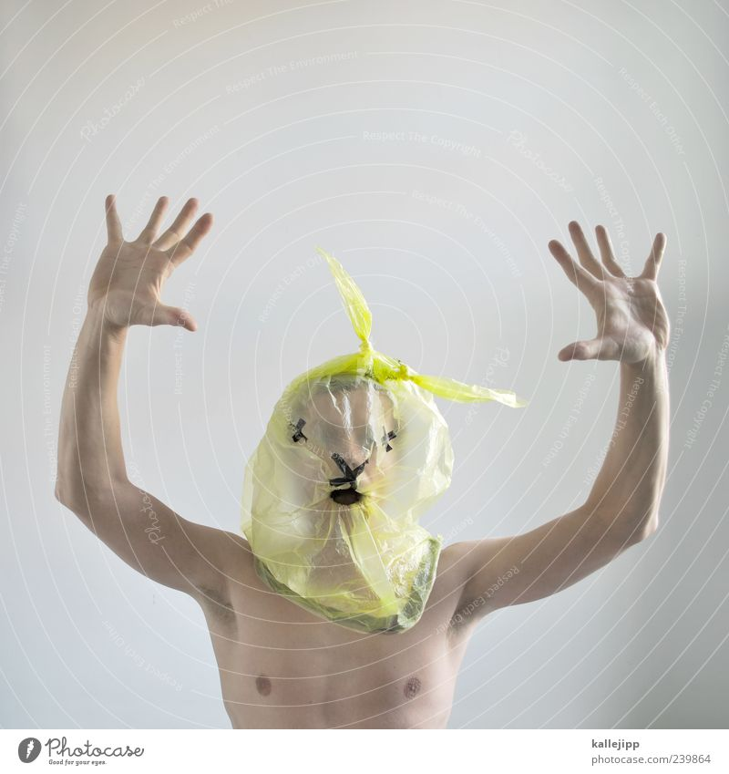 Human being Man Hand Animal Adults Yellow Head Funny Arm Masculine Skin Dangerous Fingers Mask Animal face Chest