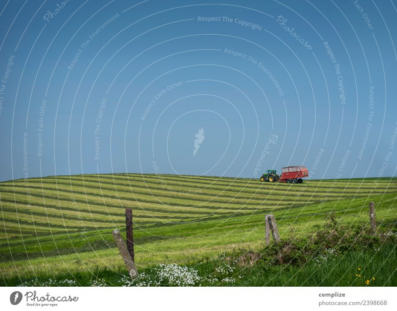 Agriculture II Food Vacation & Travel Freedom Gardening Workplace Forestry Environment Nature Sky Cloudless sky Climate Meadow Field Hill Tractor Trailer