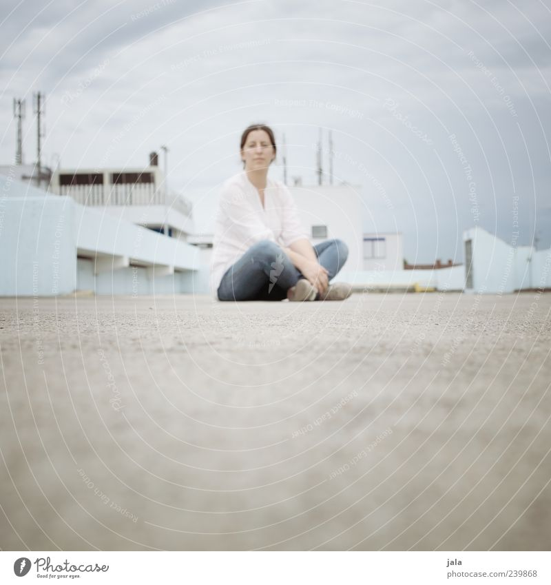 Human being Woman Sky Calm House (Residential Structure) Adults Feminine Building Bright Sit Places Meditative Individual Manmade structures 30 - 45 years Blur