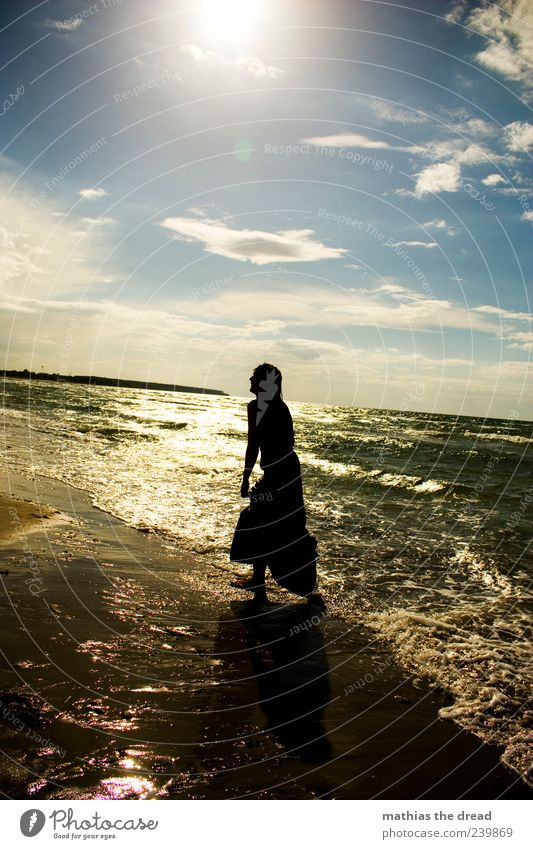 Human being Sky Nature Youth (Young adults) Water Beautiful Sun Summer Beach Joy Clouds Far-off places Environment Landscape Feminine Emotions